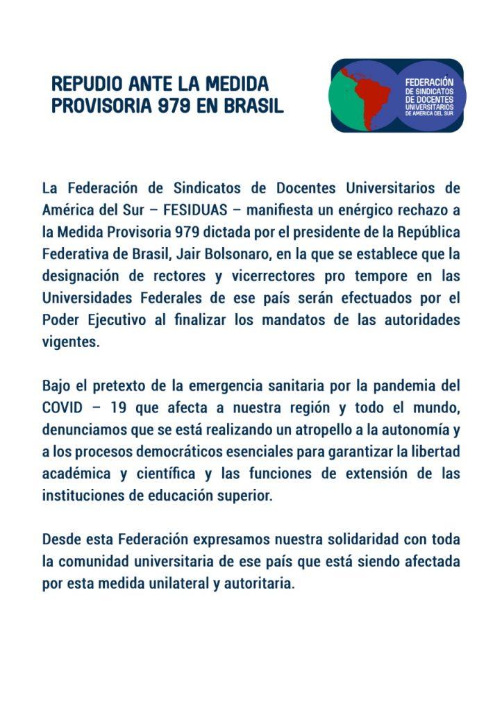 Repudio ante la medida provisoria 979 en Brasil