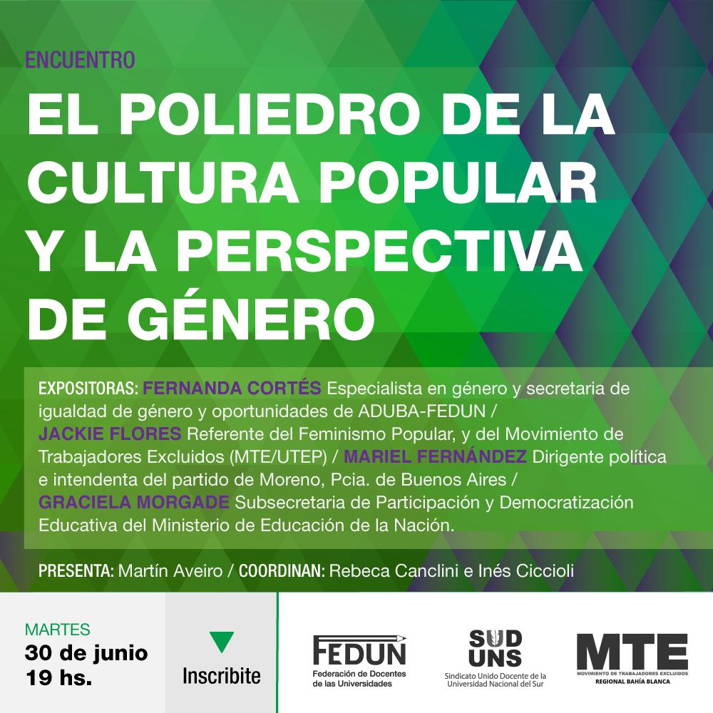 """Encuentro """"El poliedro de la cultura popular y la perspectiva de género"""""""